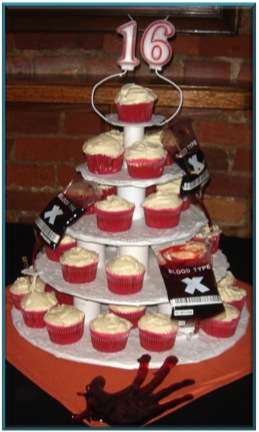 Tower of Blood Cupcakes