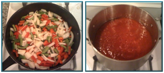 Peppers & onions in a skillet, sauce in a stockpot