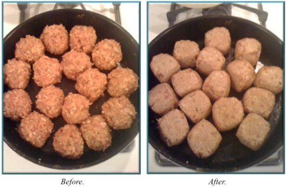 Meatballs cooking, before & after.
