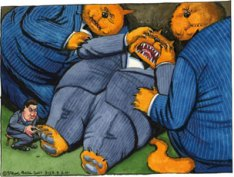 Bank Levy. Steve Bell (b. 1951), Ink and watercolour, 2011. © Steve Bell 2011.