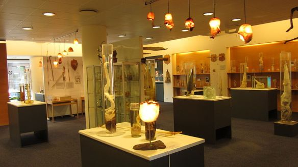 Inside the Icelandic Phallological Museum.  The lamps are made from bull scrotums.